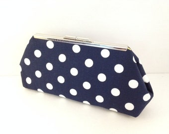 Navy Blue and White Polka Dot Cotton Clutch Purse with Nickel/Silver Finish Snap Close Frame