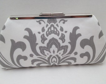 Grey White Large Damask Print Clutch Purse with Silver Nickle Tone Frame, Grey  White Clutch Purse, Bridesmaid Clutch, Purse, Wedding, Bag