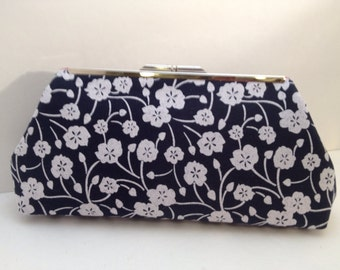 Navy Blue and White Floral Cotton Clutch Purse with Nickel/Silver Finish Snap Close Frame