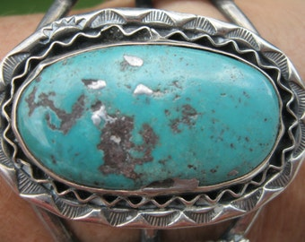 Vintage Native American Indian Large Turquoise Stone and Sterling Cuff Bracelet