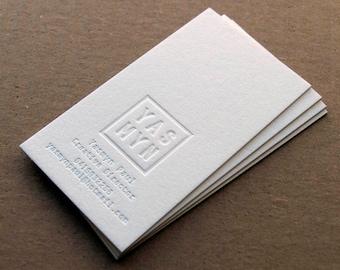 Letterpress Business Cards -100 - 1 Foil Colour + Blind Impression, Crane's Lettra 600gsm (220lb)