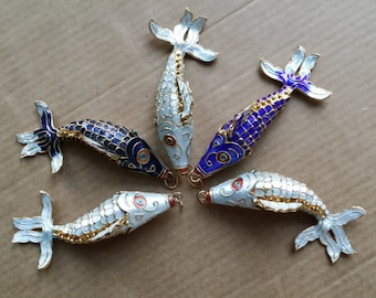 Vintage Chinese Hand made Cloisonné Medium 3-D articulated fish charm, White and Blue Pendant
