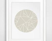 Taupe Minimalist Geometric Wall Decor, Printable Modern Home Decor, Brown Circle Print, Beige Taupe Geometric Triangle Art, Digital Art