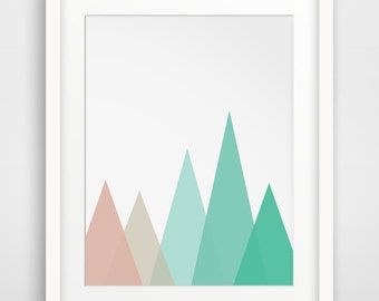 Mint and Coral Mountains, Geometric Mountain Print, Geometric Triangle Art, Mint Mountains, Coral Mountains, Coral and Mint Wall Print
