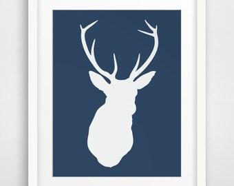 Navy Print Art, Blue Dear Head, Antlers Wall Art, Blue, Navy, Deer Wall Print, Deer Print, Wall Prints, Deer Antlers, Printable Wall Art