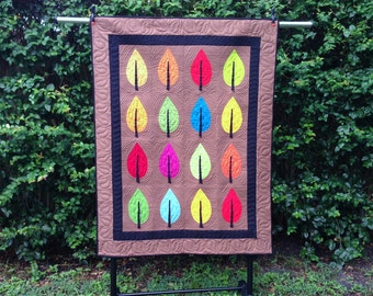 Bright, Modern Leaves  Quilt, Wall Hanging