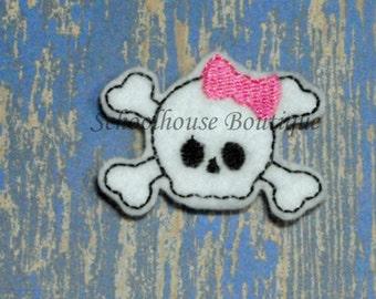 Girlie Pirate Skull #2 felties, feltie, machine embroidered, felt applique, felt embellishment, hairbow center