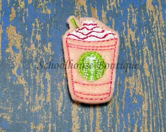 Strawberry Frappe Frozen Coffee Drink felties, feltie, machine embroidered, felt applique, felt embellishment, hair bow center