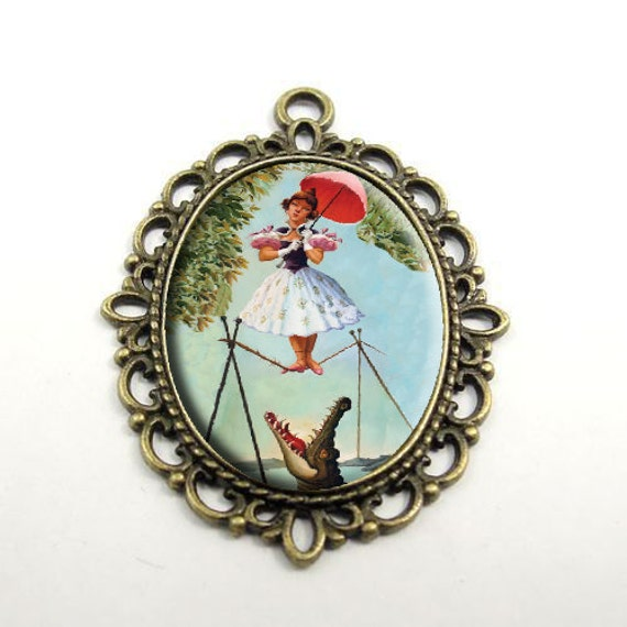 "Inspired Haunted Mansion ""Tightrope Girl' Large Pendant Necklace"
