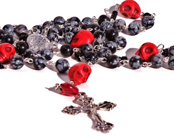 Rosary: Inspired by Dia De Los Muertos   Vintage And Calavera Beads