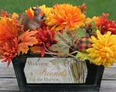 Rustic Fall Centerpiece Distressed Box gorgeous fall orange yellow rust silk flowers fabric pumpkins Rustic Fall Wedding Centerpiece Autumn