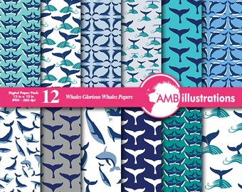 Whale papers, Whale tail scrapbook papers, Nautical papers, commercial use, Scrapbook, instant download, AMB-399