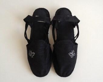 French Vintage Black Espadrilles/ Wedge Sandals Espadrilles/ 90's Black Espadrilles Shoes/ US 8.5 UK 6 EUR 39