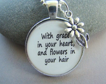 Mumford and Sons inspired quote With Grace in your Heart pendant necklace with chain,  musical lyric pendant, After the Storm