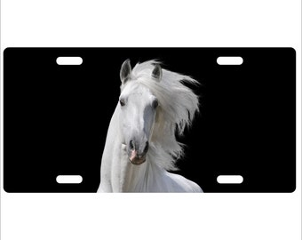 White Horse , standard size license plate - personalize with any text