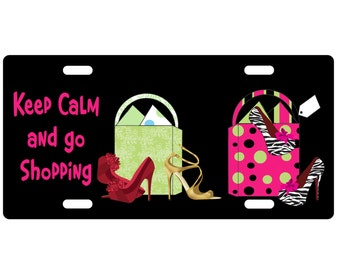 Standard Size Metal license plate-Keep Calm Go Shopping