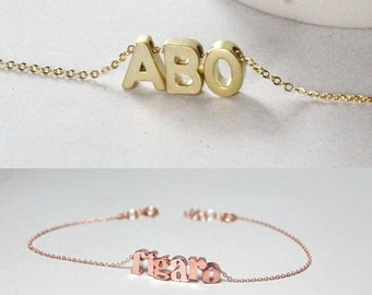 Name necklace, Name Bracelet, Personalized Jewelry, Monogrammed gift, Custom necklace,Gold necklace ,Best friend Gift, Bridal Jewelry,