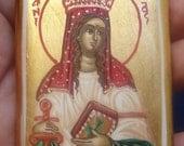 saint Dymphna.miniature St Dymphna. hand painted. icon.catholic icon.Saint dymphna.