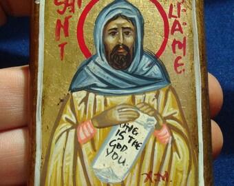 miniature byzantine St William of Gellone,handpainted.catholic icon.