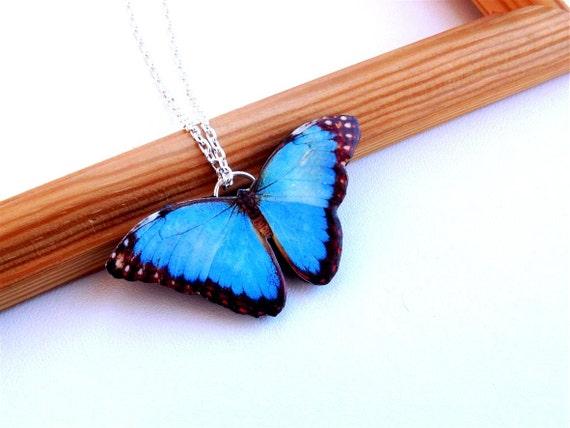 Blue Butterfly Jewelry: Blue Butterfly Necklace Spring Jewelry Butterfly Necklace