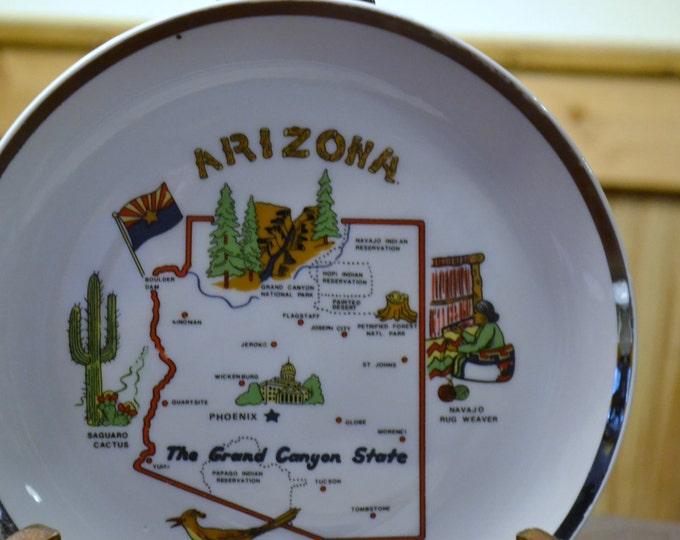 Vintage Souvenir Plate Arizona Travel Kitsch Decor Panchosporch
