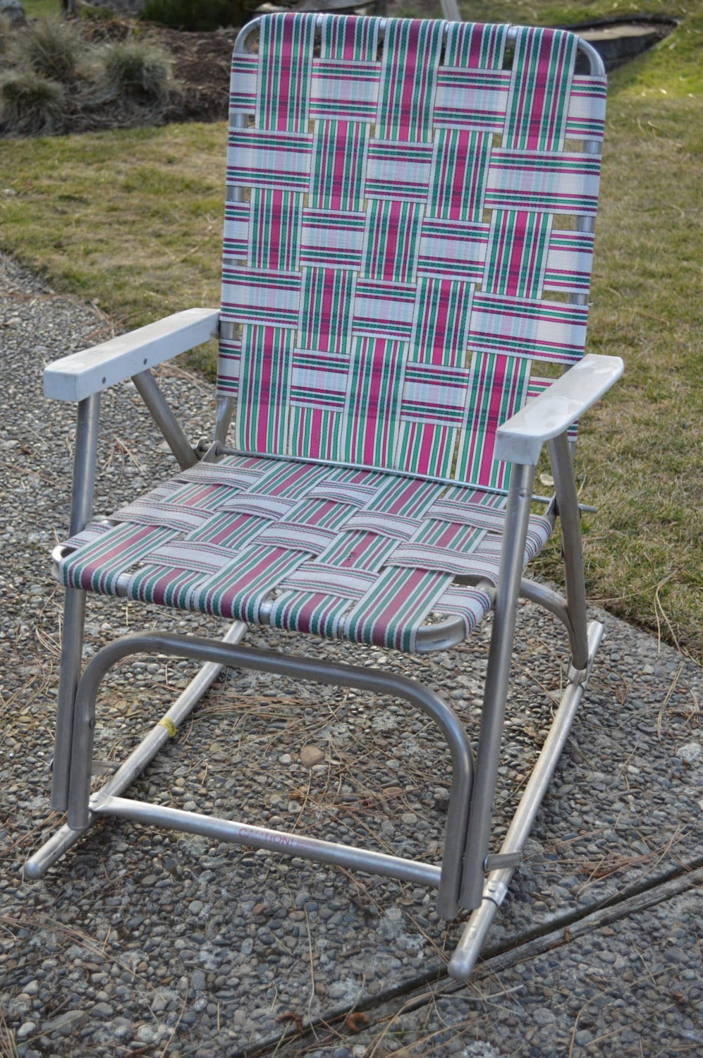 vintage webbed lawn chair aluminum webbed lawn rocking