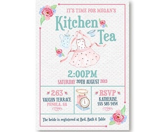 Kitchen Tea Invitation or Bridal Shower Tea Invitation Pink Blue Blush Watercolor Printable DIY