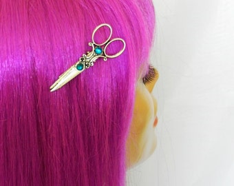 Antiqued Silver Steampunk Scissor Hair Clip Apron Clip Hair Stylist Hair Dresser Accessories
