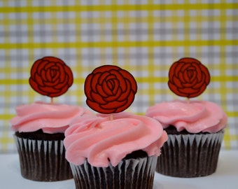 rose cupcake toppers, red rose cupcake toppers , wedding cupcake toppers, set of 12