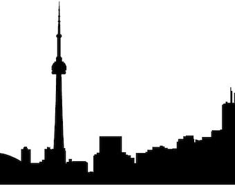Toronto Skyline Vinyl Decal: Beautiful Canada Skyline Wall Sticker