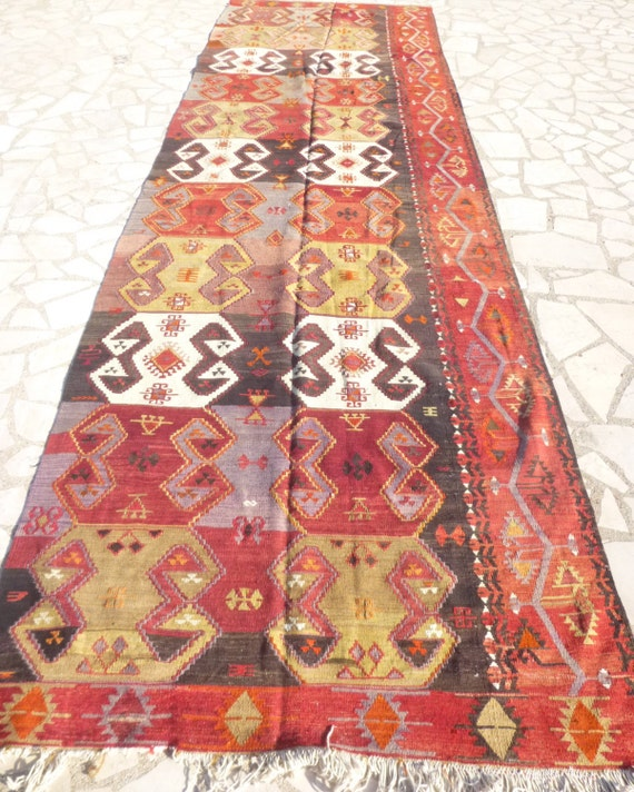 Long Ethnic Kilim Runner Rug Colorful And Unique By