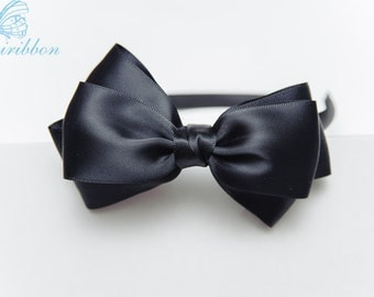black headband with satin bow - hair band - you choose color 121