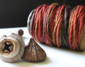 Hand Spun Wool Yarn Warm Reds, Brown, Mustard Yellow Thick Thin Fine Merino Knitting Crochet Super Soft Single 100gm 3.5ozs