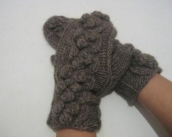 knitt mittens, Knitted Brown Mittens, Women gloves, Handmade gloves, winter gloves