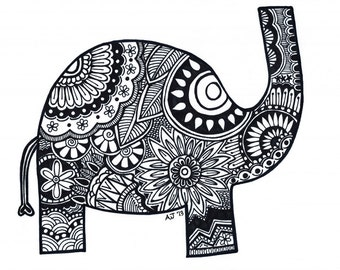 Elephant 8.5x11 ink drawing, card-stock print