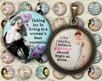 Beauty Quotes - Digital Collage Sheet - 1 inch circle - Bottle Cap Images - Round Images - Glass Pendant - Beauty - Fashion - Quotes