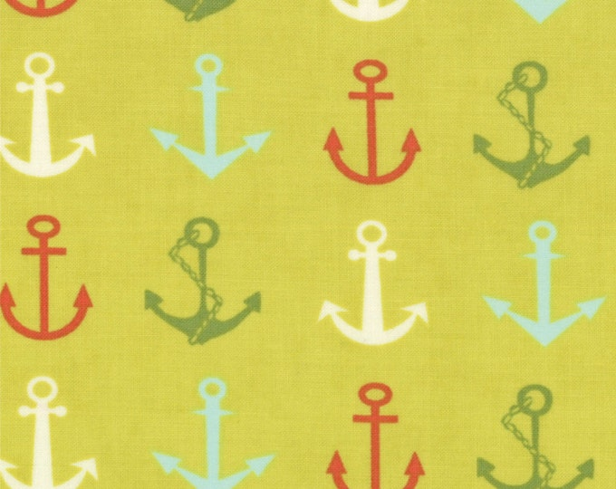 One Yard Bartholo-meow's Reef - Ahoy Anchors in Briny - Cotton Quilt Fabric - from Tim and Beck for Moda - 39531-14 (W1394)