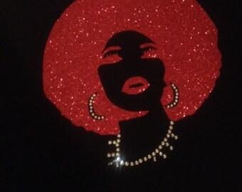 Red Glitter Afro on BLACK T-Shirt