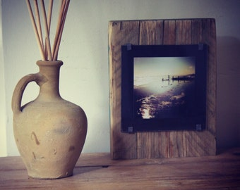 Sunset Surf photograph on a reclaimed driftwood , unique  and one of a kind