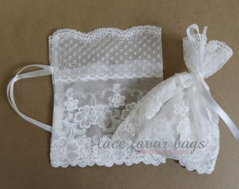 white lace favor bags - vintage lace pouch - wedding favor bags - set of 10