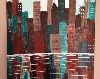 Abstract cityscape,abstract painting,city painting,brown painting,turquoise painting,18x24,reflection painting