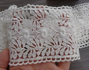 """2.95"""" wide Cotton Lace Trim Retro Off white Lace Fabric Trim For Altered Couture, Headbands, Clutch, Pillowcase, Garments"""