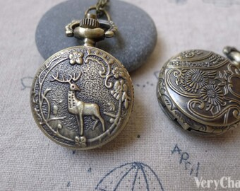 1 PC Antique Bronze Deer Flower Pocket Watch 27x27mm A7198