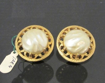 Vintage Design By Tara Jewelry Gold-Tone Faux Pearl Clip On Earrings