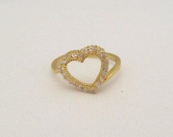 Vintage Sterling Silver Gold Vermeil CZ Heart Ring Size 7.75