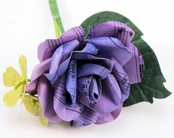 Purple Music Sheet Rose - Grooms Buttonhole - Boutonniere