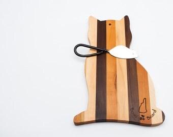 Cat Cutting Board in Three Woods