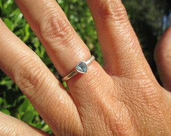 Topaz and Sterling Silver Heart Stacking Ring Size 6.25