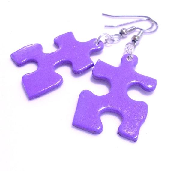Solid Light Purple Jigsaw Puzzle Piece Earrings by ...