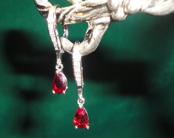 Flawless Rubies Lab-Diamond Silver Earrings.***GREAT MARK DOWNS!!!